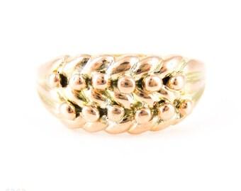 Edwardian Keeper Ring, antike 9ct Gelbgold geflochtenen Band 1900er Jahren Birmingham Markenzeichen.