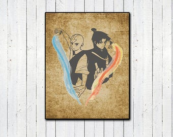 Aang and Zuko Print, Parchment Print, Avatar the Last Airbender, Fire Lord Zuko, Avatar Aang, Childrens TV, Fire, Air, Anime, LoK, Atla