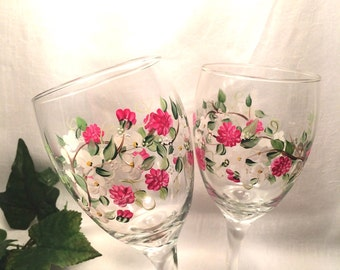 Dogwood and spring flower pair of wine glasses hand painted free shipping
