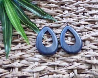 Teardrop Peek-A-Boo Wood Earrings Available in Black, Brown and in Pecan Wooden Earrings Light  Natural Stained Wood Hoops