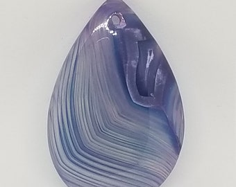 Blue and White Swirls * 43x28x6 Stripes Agate Teardrop Pendant Bead * Top-Drilled