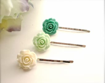 Rose Bobby Pins, White, Mint and Teal Rose Hair Pins, Romantic Bridal Hair Pins, Wedding Hair Pins, Hair Accessories, Rose Hair Clips