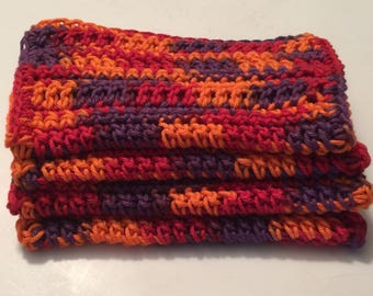 4 Large dish cloths/ dish rags/ wash cloths made with 100% cotton yarn | Sunset