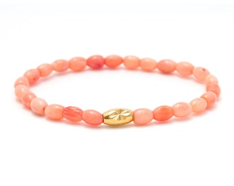 Pink Teardrop Coral Bracelet/ Pink Coral Bracelet/ Light Pink Bracelet/ Pink Bridesmaid Bracelet/ Pink Coral jewelry