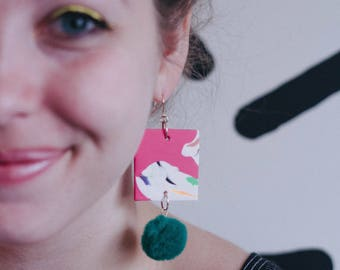 Pink Marbled Earrings, Square Statement Earrings, Green Pom Earrings, Drop Earrings, Chunky Earrings, Party Earrings, Clay Earrings