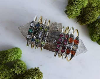 Emerald Crystal Cuff Bracelet | Gemstone Bangle | Raw Crystal Jewelry | Silver Pyrite Bracelet | Birthstone Jewelry | Gold Emerald Cuff