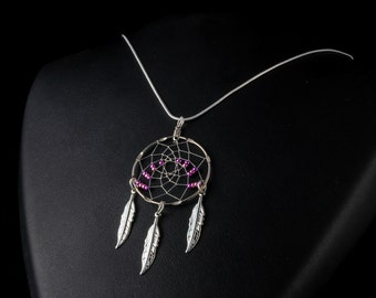 Handmade Silver  Dreamcatcher Necklace in Purple and Pink with Feathers, Native American inspired, purple and pink dream catcher necklace