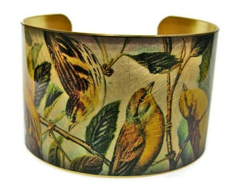 Goldfinches cuff bracelet Bird brass Gifts for her