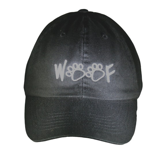 Woof with Paw Prints (Polo Style Ball Black with White Stitching)