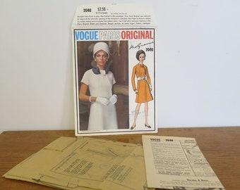 Vintage 1960s Vogue Paris Original, Molyneux A-line dress sewing pattern. Size 12.