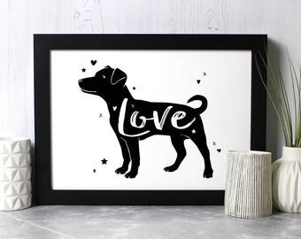 Jack Russell Terrier 'Love' Print - Gift for Jack Russell Lovers