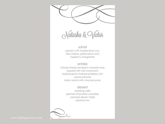 Hochzeit Menü Karte Vorlage kalligraphischen Polka