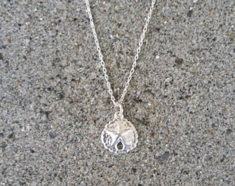 Sterling Silver Necklace, Sand Dollar, Tiny, Pendant