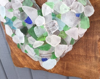 Rustic Seaglass Heart , Coastal Home Decor Wall Hanging