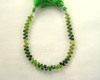 "Shaded chrome green tourmaline faceted pear bead AA+ 5.5-6mm 7.5"" strand"