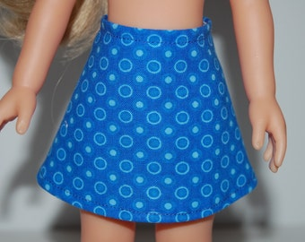 """Blue Dots A-Line Skirt Doll Clothes Corolle 13"""" Les Cheries 14"""" Hearts for Hearts Betsy McCall  tkct930"""