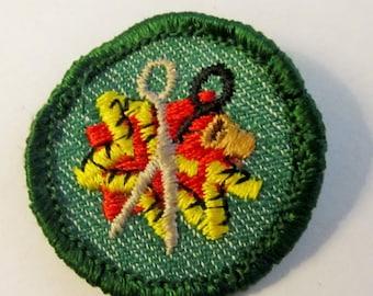 "Girl Scout Intermediate Girl Scout Badge ""Sewing"" circa 1950's"