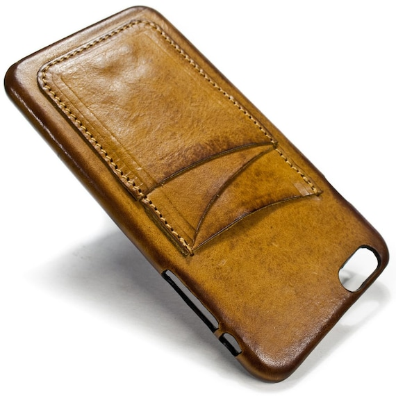 """NEW iPhone 8 and  7 Plus display 5.5"""" Italian Leather Case with 3 credit cards holder vertical SLOTs choose the color of BODY and ACCENT"""