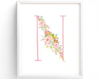 Letter N, Rose Symphony Series, Printable Letter Monogram, Nursery Art. Art Prints, Baby Girl Nursery, Wall art Prints