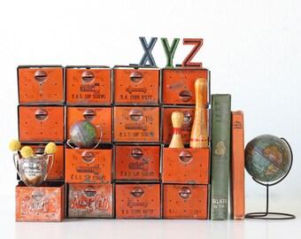 Vintage Dorman Products Industrial Cabinet, 16 Orange Drawers