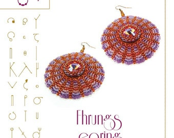Beading tutorial / pattern Fhrungs earrings with Rivoli beads. Beading instruction in PDF – for personal use only