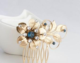Wedding Hair comb Gold Flower Bridal Comb Sapphire Blue Montana Blue Leaf comb Bridal hair Accessories MYAH SWIRLS