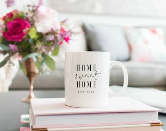 new home housewarming gift, new home gift, home sweet home, 2018 new home, coffee mug, coffee mug with sayings, new homeowner, realtor gift