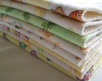 Reusable Baby Toddler Flannel and Birdsye Wipe Assortment 12 pk  Choose Boy Girl Neutral Prints Cloth Diaper Cloth Napkin