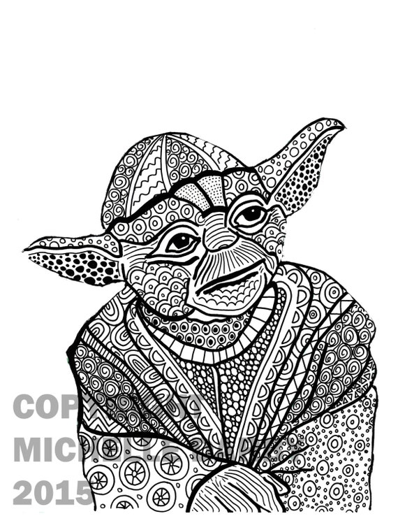 Items Similar To Zen Yoda Colouring Page On Etsy