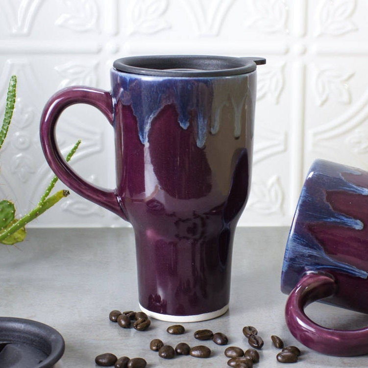 Beautiful Ceramic Coffee Travel Mug W Handle Eggplant Purple