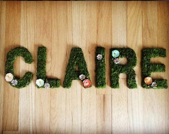Wooden Letters - Moss - Nursery, Child's Room, Wedding, Home Decor