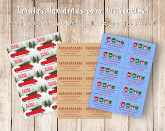 DIY Xmas personalized and printable Labels and greetings cards /Tarjetas y Etiquetas Navideñas Personalizadas e imprimibles