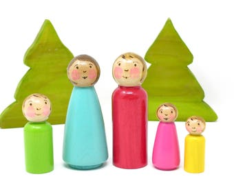Dollhouse Family set of 5, wooden peg doll, wooden family, waldorf inspired, doll house toy, kids toy