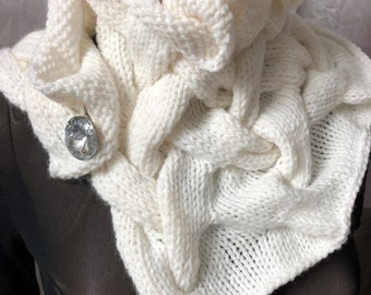White scarf,cable knit scarf,braided scarf,plaited scarf,bridal,bridesmade scarf,gift,womans scarf