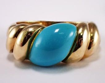 14K Yellow Gold Turquoise Ring, Vintage Ring, Yellow Gold Ring, December Birthstone