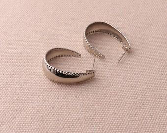 3pairs Silver Earring Hoop Lever Back Earring Hoops Jewelry Making