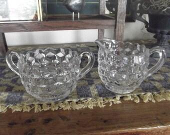 Fostoria Americana Sugar Bowl And Creamer Set