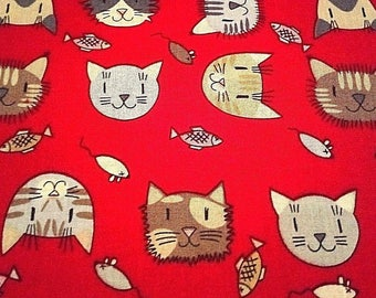 9.90, 00 Euro per metre-fabric from woven fabrics 100% cotton 140 cm wide cool cats comic red