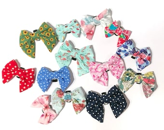 Girl Style Bow Collar Bow Tie Add On - Cat & Dog Sizing - Please Mention Fabric Choice at Checkout