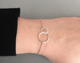 Double Circle Infinity Bracelet, Silver Infinity Bracelet, Sterling Silver, Dainty Bracelet, Minimalist Bracelet, Two Circle, StampedEve
