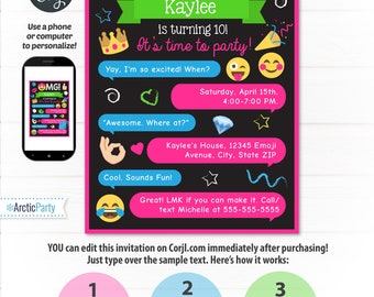 Emoji Invitations - Emoji Party Invitations - Emoji Birthday - Emoji Themed Party - INSTANT DOWNLO - Edit NOW from home using Corjl!