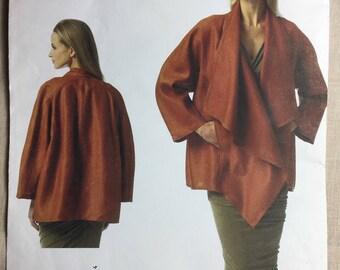 Vogue V1346, Donna Karan Pattern, Misses' Jacket, Loose Fitting, Unlined Jacket, Sizes Xsm,Sml,Med Uncut