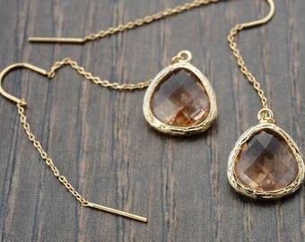 Gift idea Crystal Threader Earrings Gold Threader Earrings Peach Crystal Earrings Long Chain Earrings Crystal Dangle Earrings Gift Jewelry