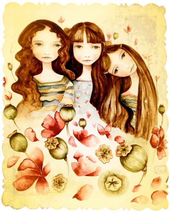 The 3 sisters vintage art large print brown hair