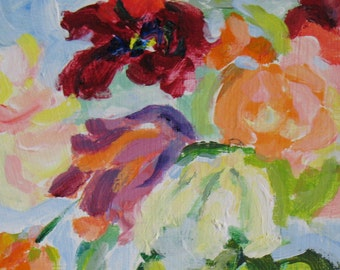 Peonies and Lilies ORIGINAL ABSTRACT painting 8 x 12