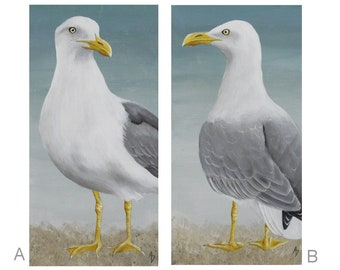Sea Gull painting - shore bird seaside beach decor - nautical art wall hanging - seashore bird - seagull art - ocean blue - beach cottage
