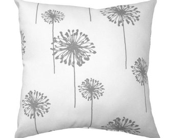 Dandelion Pillow Cover - Gray and White Throw Pillow - Gray Floral Accent Pillow - Dandelion Storm Grey Floral Decorative Throw Pillow Cover