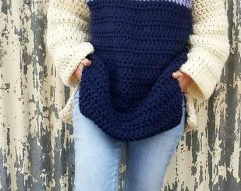 Crochet Sweater PATTERN - Oversized Crochet Sweater - Color Block Sweater - Crochet Chunky Sweater - Crochet Top Pattern -