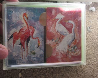 vintage playing cards  pelicans orchids or ducks