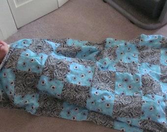 Bah bah black sheep flannel scrap blanket quilt.